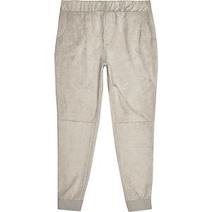 Pantalon de jogging grège avec empiècement en daim