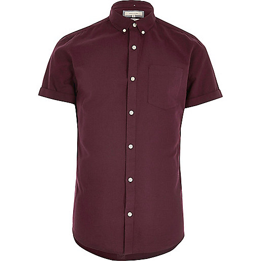 burgundy casual slim fit oxford shirt short sleeve