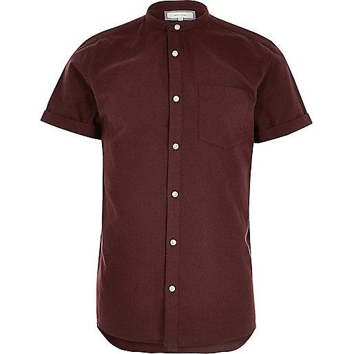 Red Oxford grandad short sleeve shirt