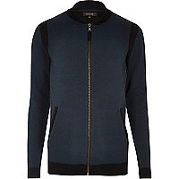 Navy blue cardigan bomber jacket