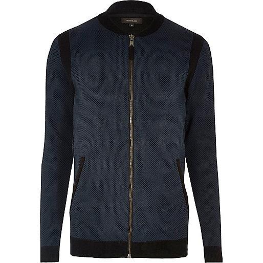 Navy blue cardigan bomber jacket