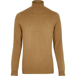 Brown roll neck jumper