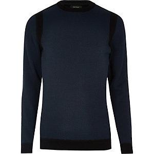 Marineblauwe pullover met ronde hals