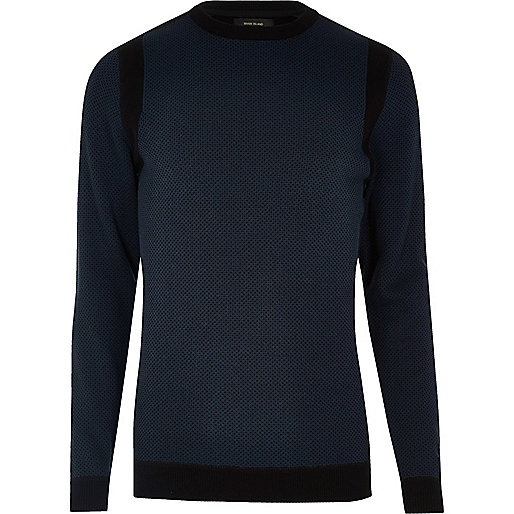 Navy blue crew neck jumper