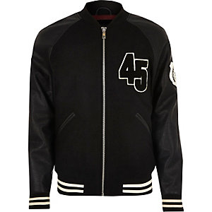 Black varsity bomber jacket