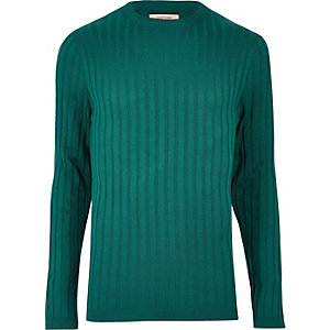 Dark green chunky ribbed muscle fit top