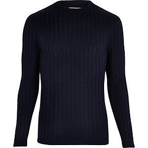 Navy chunky ribbed muscle fit top