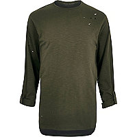 Khaki green distressed longline T-shirt