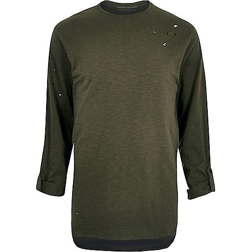 Khaki green distressed longline T-shirt