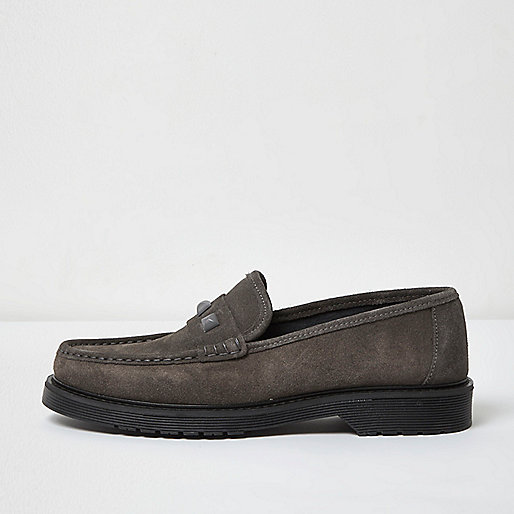Grey suede stud loafers