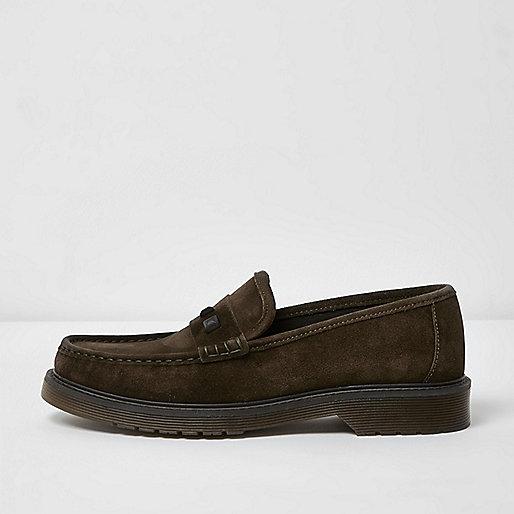 Dark green suede stud loafers