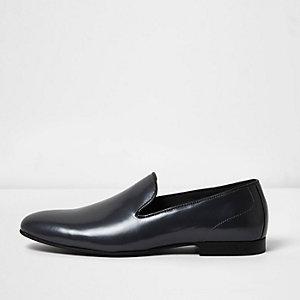 Dark grey leather slip-ons