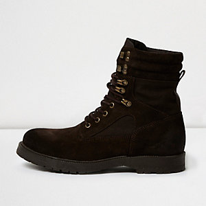 Dark brown suede combat boots