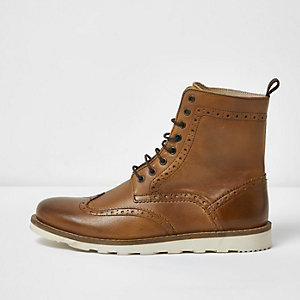 Tan leather high ankle brogue boots