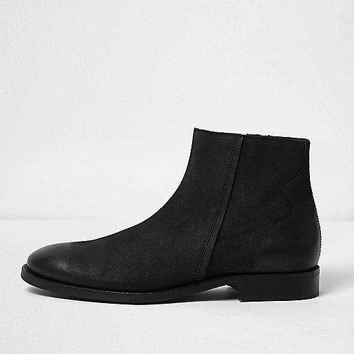 Black leather seam boots