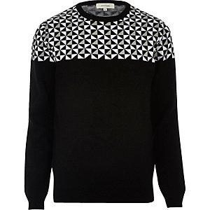 Black geo print Christmas jumper