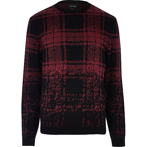 Red faded check sweater