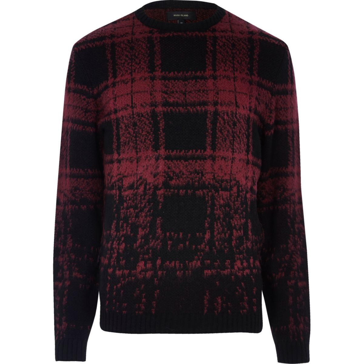 Red faded check jumper