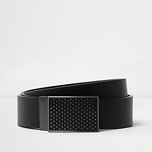 Black plated buckle reversible belt