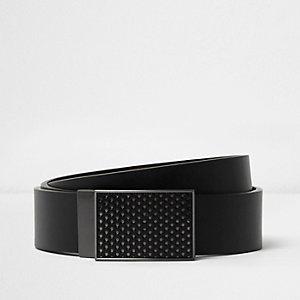 Zwarte aan twee zijden draagbare riem met gemetalliseerde gesp