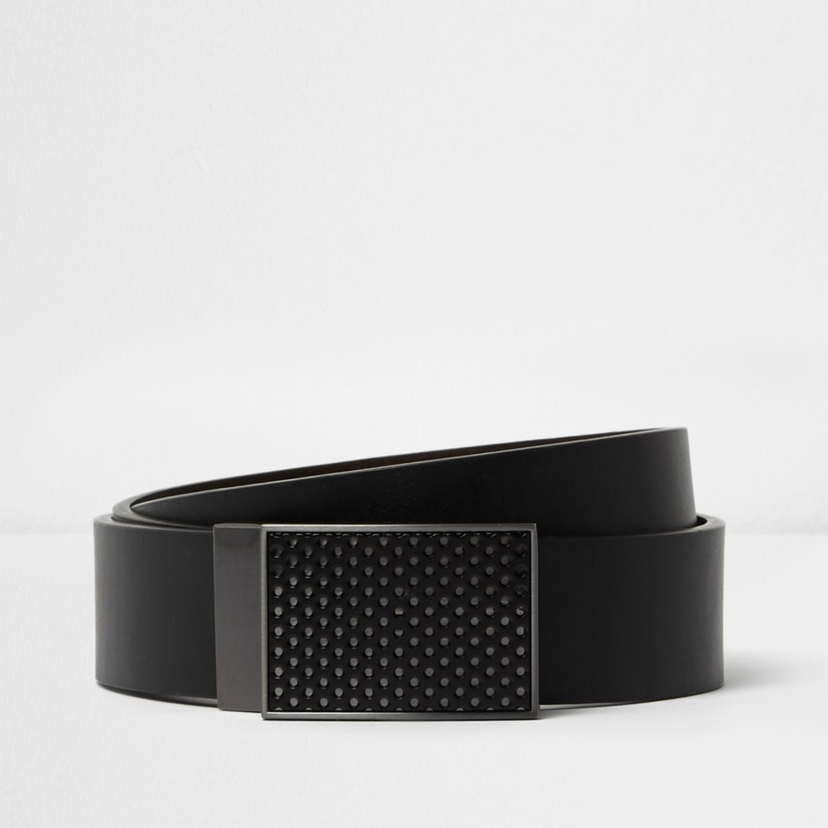 Black plated buckle reversible belt