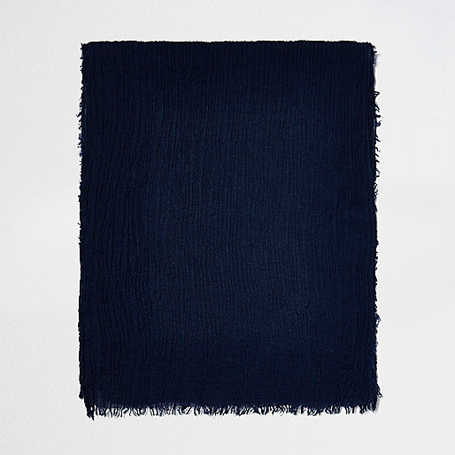 Dark blue scarf with crinkle texture