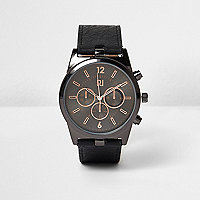 Black textured strap watch