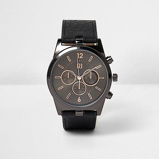 Black textured strap watch