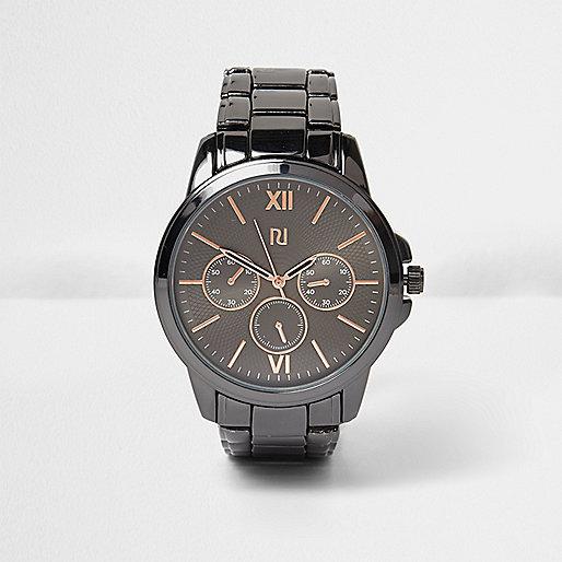 Gunmetal tone chain watch