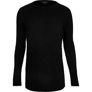 Black waffle muscle fit long sleeve T-shirt