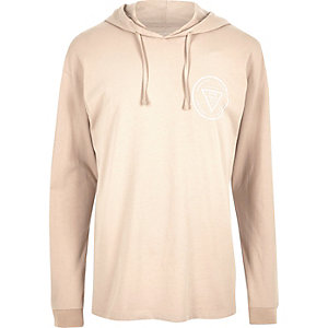 Stone print hooded long sleeve T-shirt