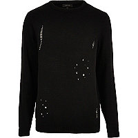 Black distressed jumper