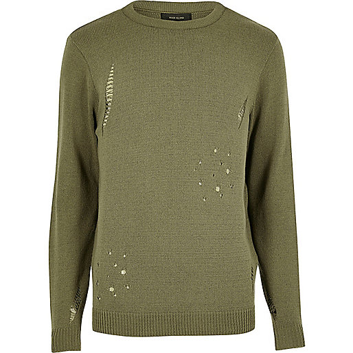 Dark green distressed jumper