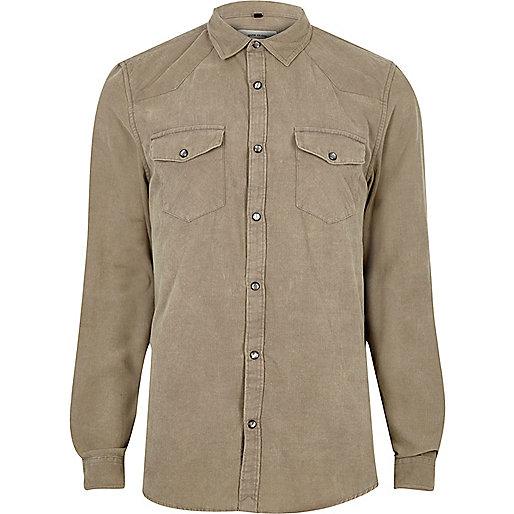 Ecru corduroy western style shirt