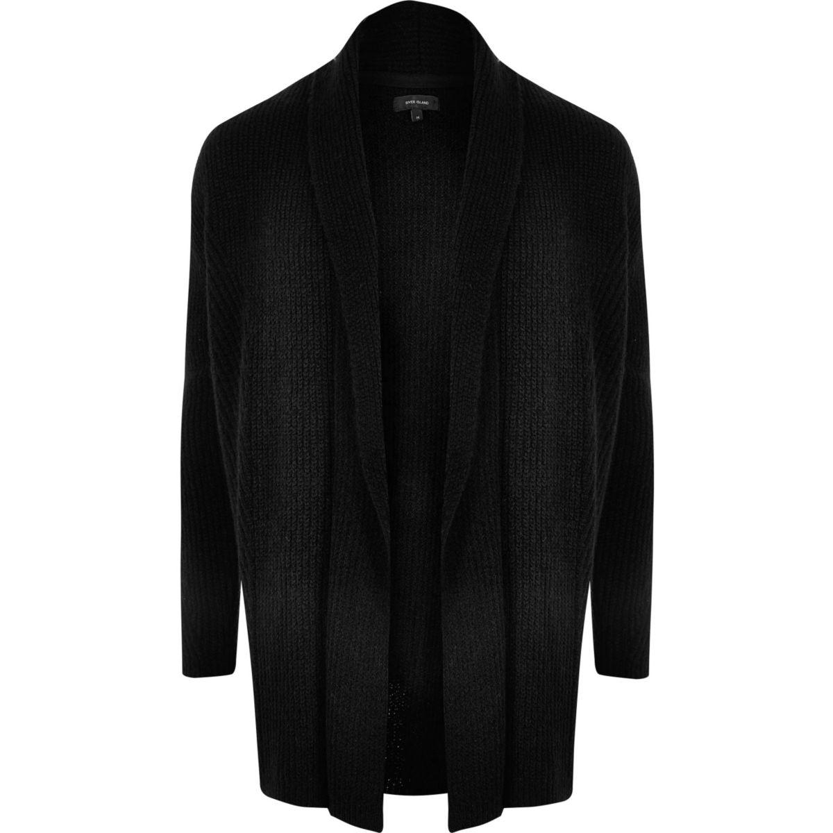 Cardigan en laine mélangée noir côtelé