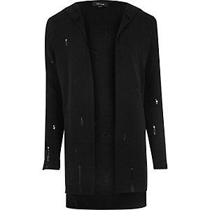 Black distressed cardigan