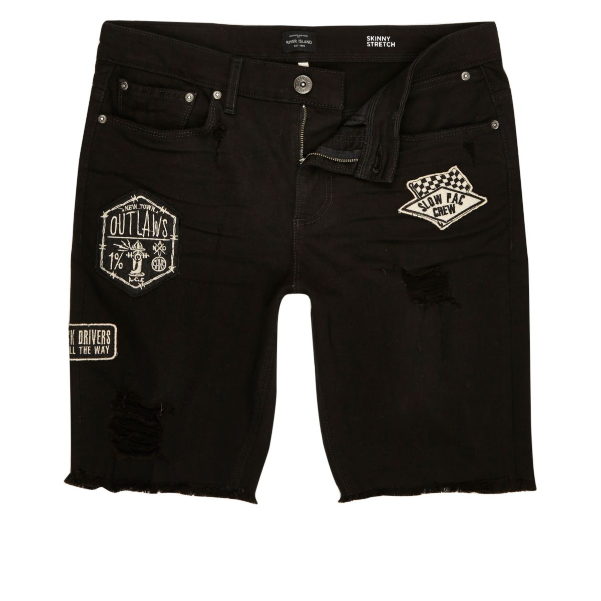 Zwarte gerafelde skinny denim short met badges