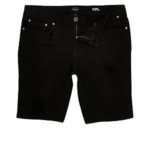 Short en jean skinny noir usé