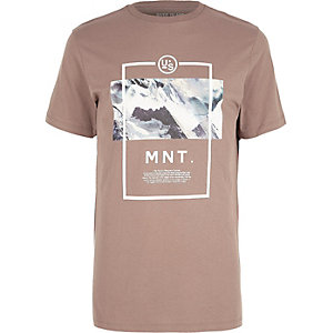 Pink mountain scene print T-shirt