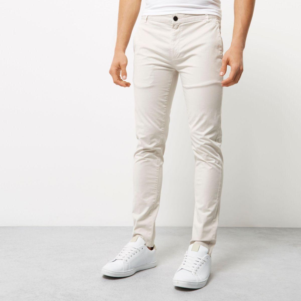 Light grey skinny chino trousers