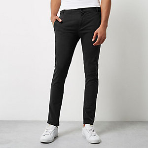 Black super skinny chino trousers