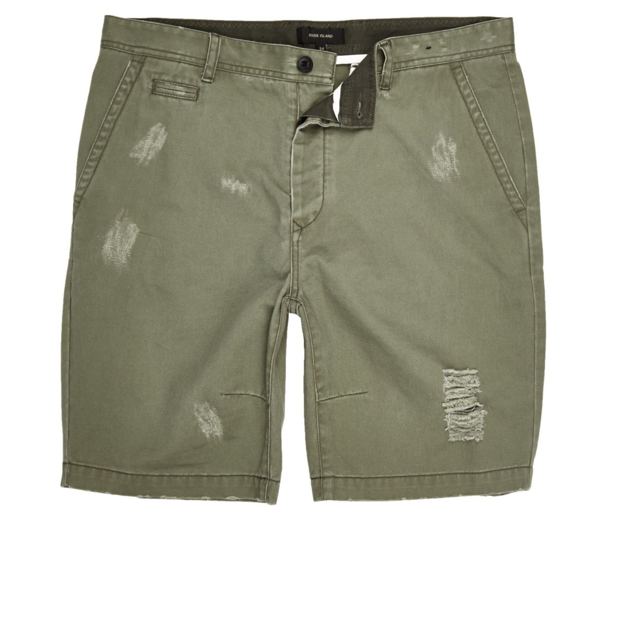 Grüne, gerippte Skater-Shorts
