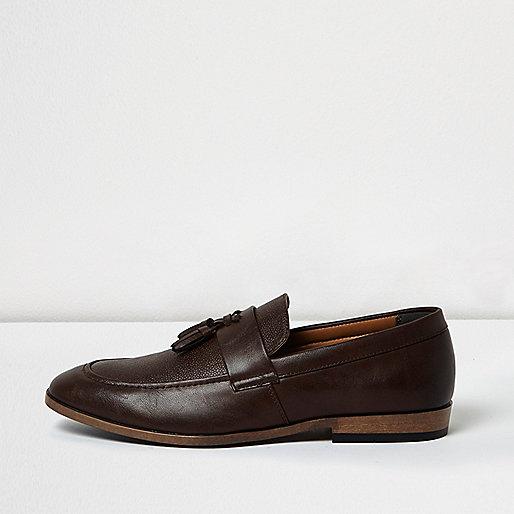 Dark brown leather tassel loafers