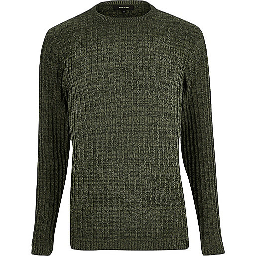 Dark green ribbed sweater