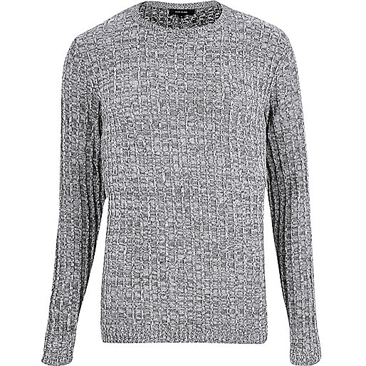 Grey ribbed jumper