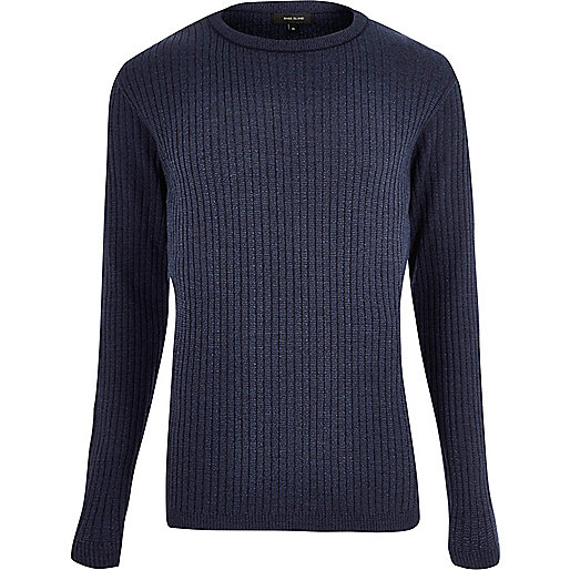 Blue ribbed jumper