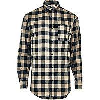 Chemise casual en flanelle à carreaux grège
