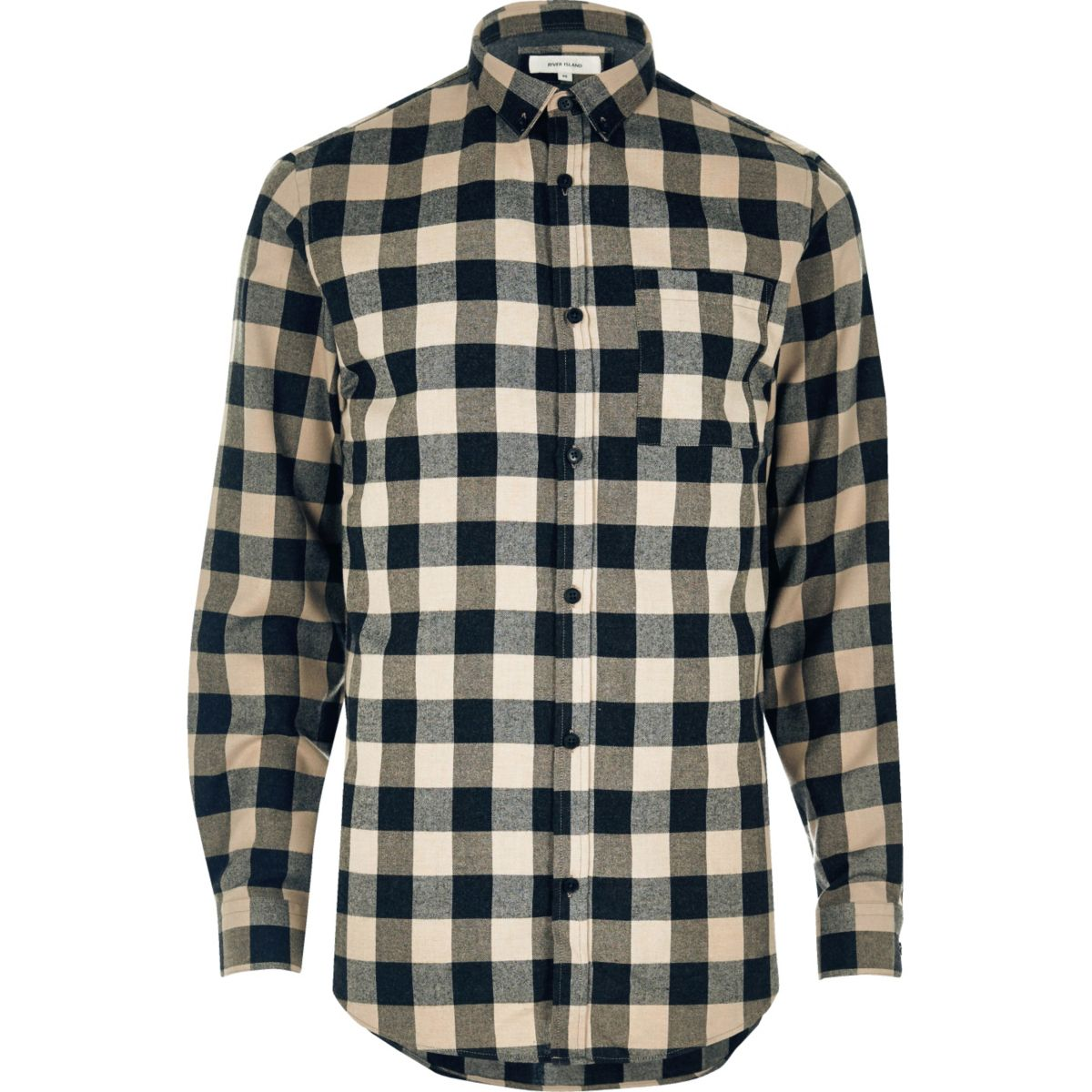 Stone casual check flannel shirt