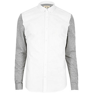 White jersey sleeve casual Oxford shirt