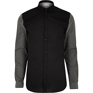 Black jersey sleeve casual Oxford shirt
